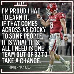 Oklahoma Sooners Football, College Football Teams, Football Quotes, Notre Dame Football, Ohio State Football, American Football, Cleveland Browns History, Baker Mayfield, College Quotes