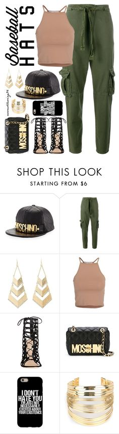 """""""Top Hat: Baseball Cap Style"""" by avonsblessing94 ❤ liked on Polyvore featuring Moschino, Current/Elliott, Charlotte Russe, NLY Trend, Gianvito Rossi and WithChic"""