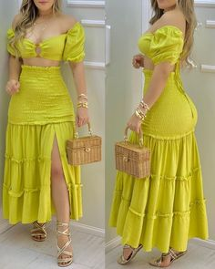 Trend Fashion, Dark Fashion, Womens Fashion, Chic Type, Looks Chic, Online Dress Shopping, Maxi Dress With Slit, Maxi Skirt Crop Top, Slit Skirt