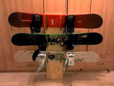 DIY Snowboard Wall Rack    We need one of these BADly.