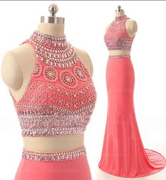 Long Prom Dresses, Sexy Prom Dresses,2 pieces prom dresses, sexy mermaid prom dresses, coral prom dresses, prom dress online