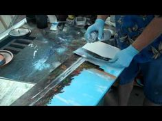 Spray Paint Art on Canvas of Tropical Scene - YouTube