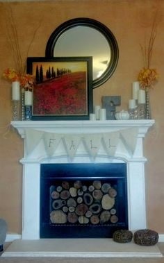 Simple and Crazy Tips Can Change Your Life: Painted Fireplace Heart fireplace built ins one side.Gas Fireplace And Mantels contemporary fireplace benches.Mount Tv Over Fireplace. Cottage Fireplace, Simple Fireplace, Candles In Fireplace, Fireplace Bookshelves, Fireplace Garden, Paint Fireplace, Shiplap Fireplace, Old Fireplace, Fireplace Mirror