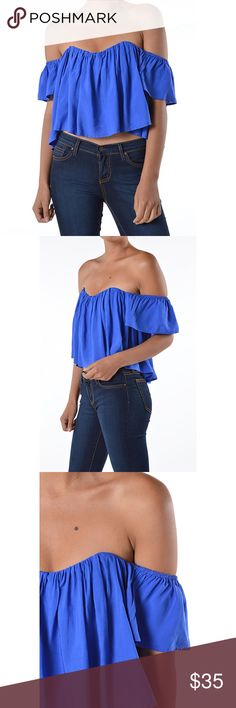 """Bohemian Off Shoulder Bright Navy Blue Top ❤️ BUNDLES  ❤️ DISCOUNTS  ❌ NO TRADES  ❌ NO Low balling!   • NWT •  • Built-in Bustier  • Back Zipper  • * MEASUREMENTS:  - Size: S  - Length From armpit: 10.5"""" Approximately - Bust: 32"""" Approximately - Sleeve length: 5.75""""  • - Size: M  - Length From armpit: 11.5"""" Approximately  - Bust: 33.25"""" Approximately  - Sleeve length: 6""""  •   - Size: L  - Length From armpit: 12.75"""" Approximately  - Bust: 36"""" Approximately  - Sleeve length: 6""""  • * MATERIAL…"""