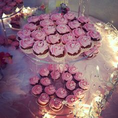 Mini vegan pink flower cupcakes for sweet sixteen party!!
