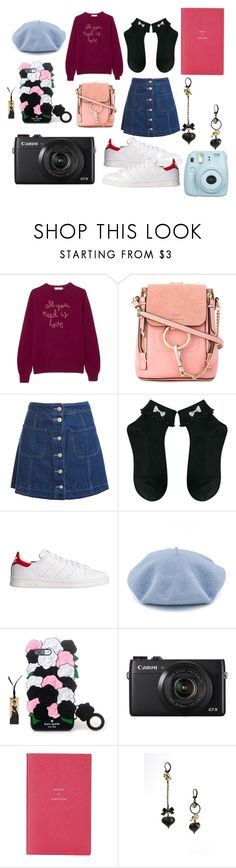"""Vlogging in Japan #3"" by kaina-kbeauty93 ❤ liked on Polyvore featuring Lingua Franca, Chloé, Sans Souci, adidas Originals, Smythson, Betsey Johnson and Fujifilm"