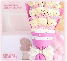 11 teddy bears plush bouquet 11泰迪熊公仔娃娃玫瑰 女朋友生日情人节礼物 仿真花娃娃玩偶花卡通花束