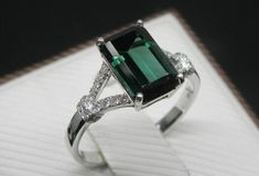 Engagement Ring - 2 Carat Green Tourmaline Ring With Diamonds In 14K White Gold