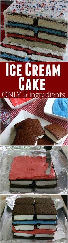 20 Super Mouthwatering Oreo Recipes Ice Cream Sandwiches Cake — this fun red, white and blue ice cream sandwiches cake is super easy and really fun for your of July Celebrations! Just 5 simple ingredients and you have a show-stopping dessert! Mini Desserts, 4th Of July Desserts, Fourth Of July Food, Frozen Desserts, Holiday Desserts, Frozen Treats, Holiday Treats, Just Desserts, Holiday Recipes