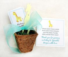 NOW with GIRAFFES!  Seed Giraffe Favors - Plantable Paper Flower Seed Favors Kit ** Plant them, they grow! **  Go green! This earth-friendly planting kit contains everything you need to give your guests a charming and memorable gift that keeps on giving. Included are completely biodegradable, plantable pots and plantable paper giraffes, organza ribbon, and personalized cards with planting instructions for everyone. Mini hearts are included.  A plantable giraffe and also 2 mini hearts are…