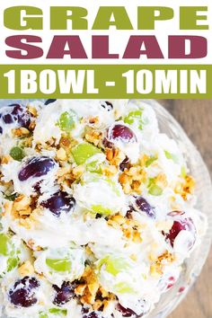 Quick and easy creamy grape salad recipe that's ready in 10 minutes, using simple ingredients. It's sweet, creamy and packed with nuts. From onepotrecipes.com #salad #grapes #appetizer #dessert #sides #sidedish #dessert #snack #recipe #onepotrecipes