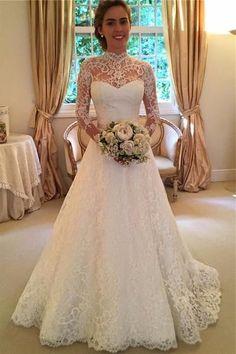 Lace Wedding Dresses #LaceWeddingDresses, 2018 Wedding Dresses #2018WeddingDresses, Wedding Dresses With Sleeves #WeddingDressesWithSleeves, A-Line Wedding Dresses #ALineWeddingDresses, High Neck Wedding Dresses #HighNeckWeddingDresses