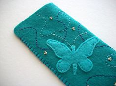 Butterfly Eyeglass Case Teal Felt with Hand Embroidered Swirls Handsewn Felt Wallet, Felt Purse, Felt Phone Cover, Pochette Portable, Sewing Crafts, Sewing Projects, Felt Gifts, Wool Applique, Love Sewing