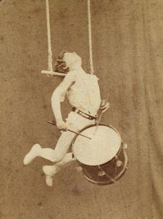 El Niño Farini trapeze artist with drum, mid 19th century
