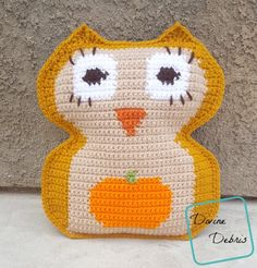 Ravelry: Pumpkin Belly Owl pattern by Divine Debris Crochet Owls, Crochet Pumpkin, Crochet Home, Crochet Gifts, Crochet Pillow Patterns Free, Free Crochet, Free Pattern, Good Vibes Pillow, Owl Bags