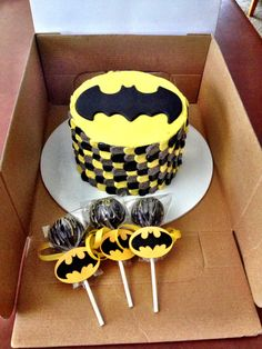 Batman smash cake and cake pops.                                                                                                                                                                                 More