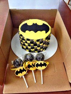 Batman smash cake and cake pops.                                                                                                                                                                                 More