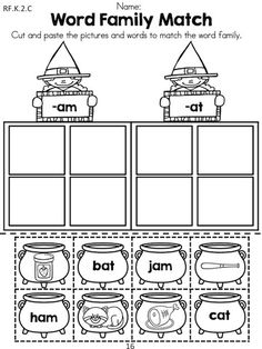 Halloween Word Family Match >> Children cut and paste words and pictures to matching word family >> Part of the Halloween Kindergarten Language Arts Worksheet packet