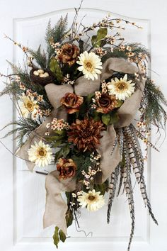 Country Door Wreath Bird Nest with Eggs Daisies Holiday Door Wreaths, Autumn Wreaths, Diy Wreath, Grapevine Wreath, Burlap Wreaths, Country Wreaths, Summer Wreath, Thanksgiving Decorations, How To Make Wreaths