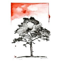 Tree Original Painting Watercolor ink artwork fine art contemporary abstract black white wall decor modern picture illustration (115 CAD) found on Polyvore