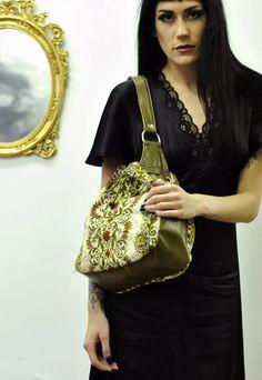 Vintage Cream & Green Floral Drawstring Bag | Bang Bang | ASOS Marketplace
