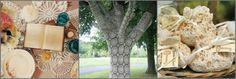 doily work, lace-covered tree, lace sachets via calder clark designs blog