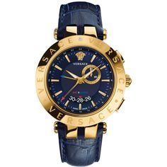 Versace Men's Swiss Chronograph V-Race Gmt Blue Leather Strap Watch... (€1.610) ❤ liked on Polyvore featuring men's fashion, men's jewelry, men's watches and blue