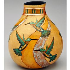 Humminbird Southwest Gourd Pot by Christy Barajas