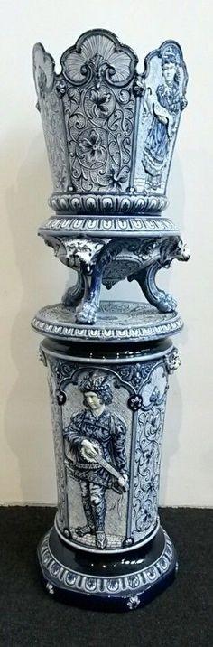 Exclusive XXL GERMAN 3 piece blue stoneware jardiniere on pedestal stand 1880.