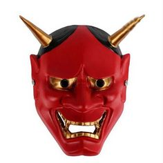 Small 18*15cm Resin Japanese Buddhist Evil Oni Noh Hannya Mask Red Masquerade Halloween Cosplay Dancing Party Masks