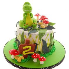 Dinosaur Cake - For all your cake decorating supplies, please visit… Fancy Cakes, Cute Cakes, Dinosaur Birthday Cakes, Dinosaur Party, Dinosaur Cakes For Boys, Birthday Cupcakes, Dino Cake, T Rex Cake, Cake Decorating Supplies