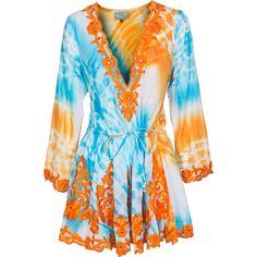 TAJ by Sabrina Crippa Embellished Mirror Blue Orange Tunic dress with... ($285) ❤ liked on Polyvore featuring dresses, tops, orange, vestidos, v neck dress, cotton dress, blue v neck dress, tye dye dress and blue tie dye dress