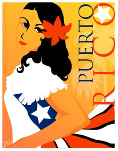 This piece was inspired by vintage travel posters from the late 19th and early 20th centuries, modern twist with clean vector lines and bold colors that represent the vibrancy of Puerto Rico. In my final design, a Puerto Rican woman flaunts a traditional white dress embellished with elements of the Puerto Rican flag, with palm trees and golden sky reminiscent of the island landscape in the background.