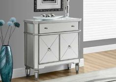 Monarch Specialties Mirrored Accent Chest, Brushed Silver Frame, L Mirrored Sideboard, Mirrored Accent Table, Mirrored Furniture, Accent Furniture, Table Mirror, Mirror Art, Mirrors, Console Cabinet, Mirror Cabinets