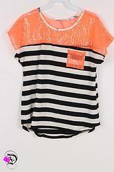 Black and Neon Orange Sequin Stripe Tee $27.99