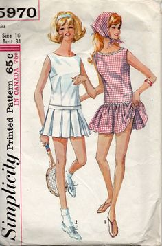 Simplicity 5970 1960s Misses Tennis Dress and Panties womens vintage sewing pattern by mbchills