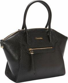 Calvin Klein Key Item Leather Satchel Black Mountain - via eBags.com!