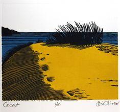 'Beach' Linocut Edition of 10 Di Oliver Art And Illustration, Botanical Illustration, Linocut Prints, Art Prints, Block Prints, Gravure Photo, Linoprint, Woodblock Print, Landscape Art