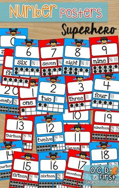 Are you looking to spruce up or create a Superhero themed classroom? If so, this might be the product for you!  These number posters are ready for you to print on 8 1/2 x 11 sheets. I have the numbers 0-20. Numbers 1-9 have cards with and without touchpoints depending on what you use in your classroom. Each card has the numeral, number word, tally marks, and ten frame(s).