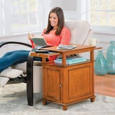 Get this recliner side table and keep your beverage and snacks close at hand. It's specially designed to fit in that tight space between the wall and a recliner.