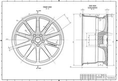 Wheel Technical Drawing Sketch Coloring Page Mechanical Engineering Design, Mechanical Design, Cad Drawing, Drawing Sketches, Autocad Isometric Drawing, Orthographic Drawing, Solidworks Tutorial, Blueprint Drawing, Interesting Drawings
