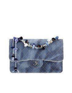 449f637c8046 Denim and calfskin flap bag embellished... - CHANEL Chanel Jumbo