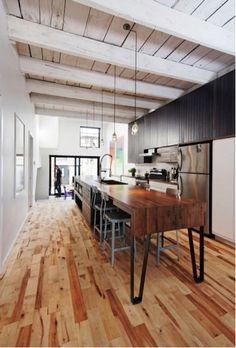 Love the looong kitchen island and the wood. #kitchen, #home