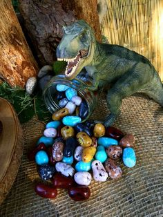 Dinosaur birthday party rock candy decorations! Such a clever idea for a Dinosaur Theme Birthday Party!