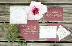 Blush, burgundy, and gold wedding invitation suite | Virginia Ashley Photography