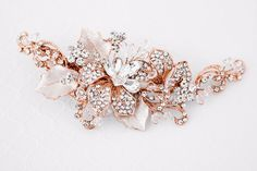 Bridal Headpiece of Frosted Rose Gold and Jeweled Leaves