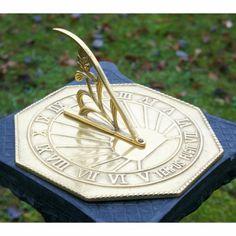 Solid Antique Brass Finish Octagonal Peacock Design Garden Sundial