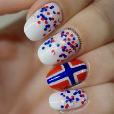 Classy Nails, Simple Nails, Cute Nails, Norwegian Flag, Flag Nails, Fixer Upper Decor, Cotton Wreath, Gel Acrylic Nails