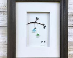 Pebble Art with seaglass birdhouses 8 by 10 PebbleArt by Sharon Nowlan choice of framed or unframed