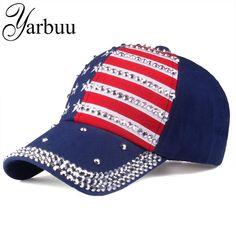 1262d5a09151e  YARBUU  The American flag Baseball caps 2018 fashion hat For men women The  adjustable cotton cap rhinestone star Denim cap hat